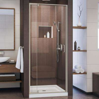 Flex 32 in. x 32 in. x 74.75 in. Framed Pivot Shower Door in Brushed Nickel with Center Drain White Acrylic Base