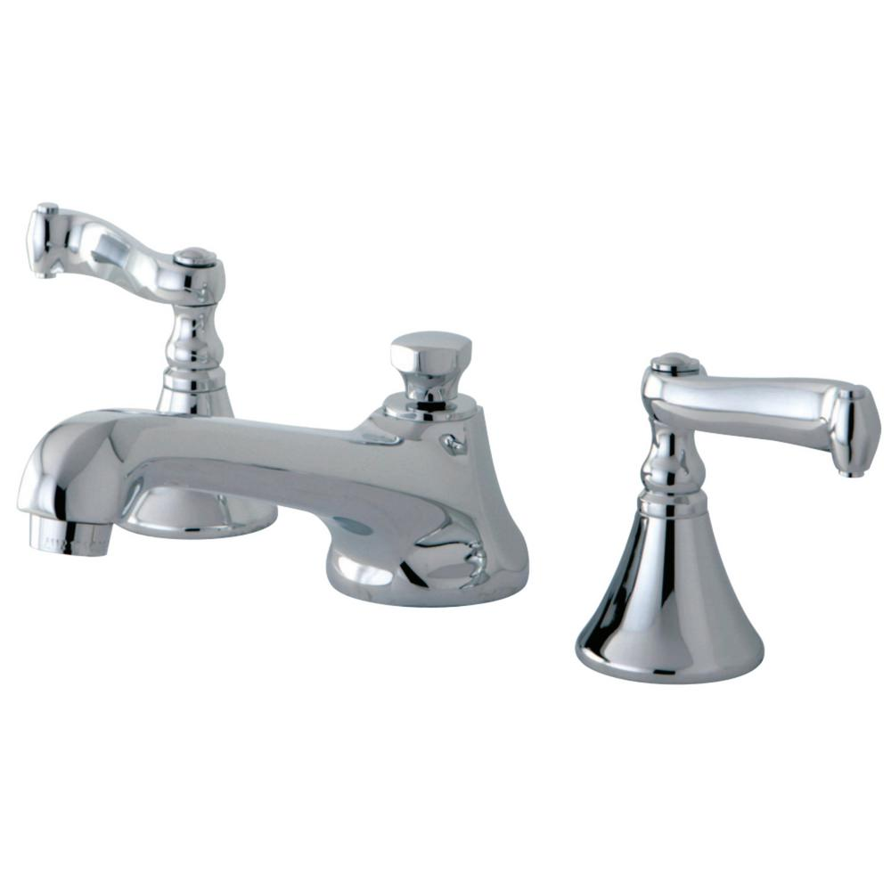 Kingston Brass Modern 8 In. Widespread 2-Handle Bathroom Faucet In Chrome-HKS4471FL