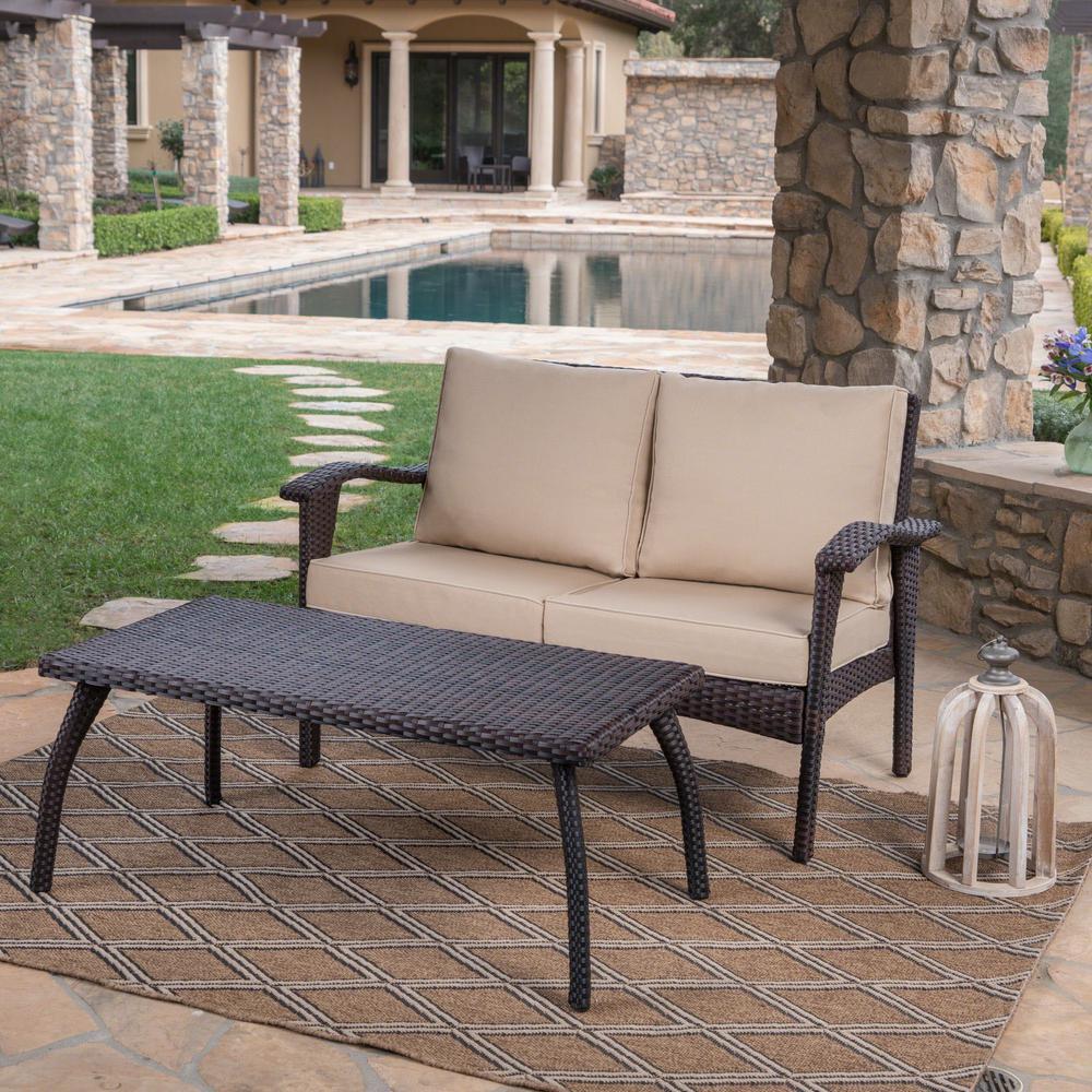 Honolulu Brown 2-Piece Wicker Patio Conversation Set with Tan Cushions