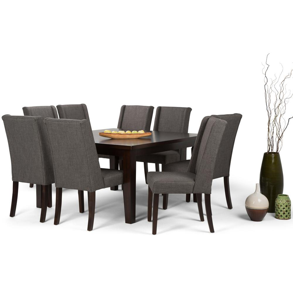 Sotherby 9 Piece Dining Set With 8 Upholstered Chairs In Slate Grey Linen Look Fabric And 54 Wide Table