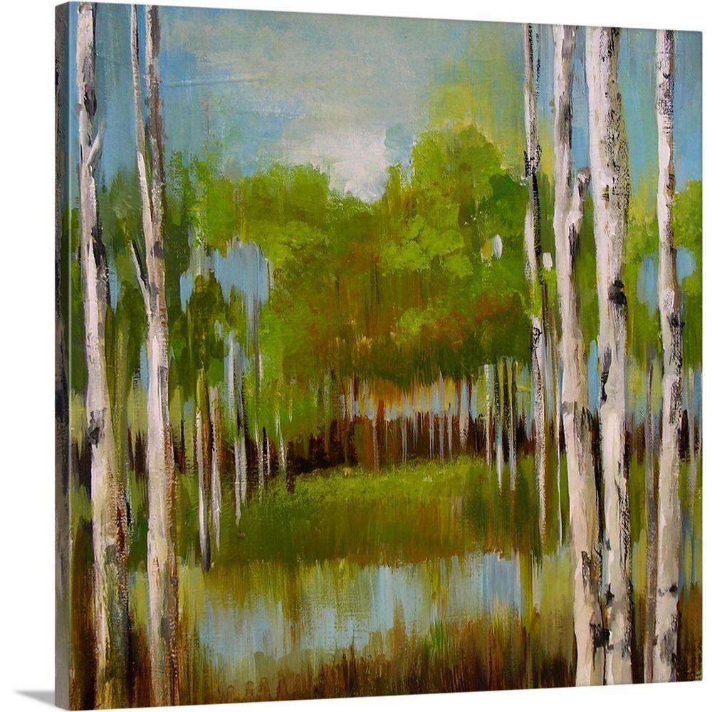 GreatBigCanvas ''Birch Trees II'' by Valeria Art Canvas Wall Art 2446511_24_24x24