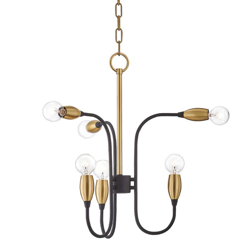 Dakota 6-Light Aged Brass/Black Chandelier