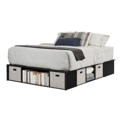 Flexible Black Oak Queen-Size Storage Bed