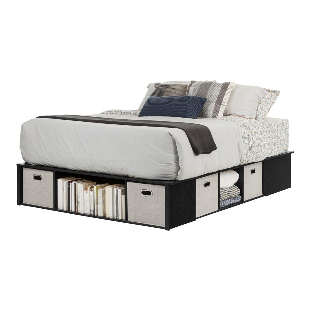 cbfa76a8c85 South Shore Flexible Black Oak Queen-Size Storage Bed-10488 - The Home Depot