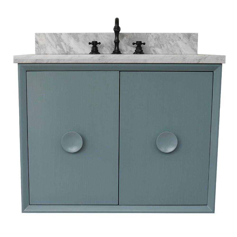 Bellaterra Home Stora 31 in. W x 22 in. D Wall Mount Bath Vanity in Aqua Blue with Marble Vanity Top in White with White Oval Basin