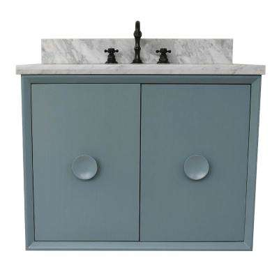 Stora 31 in. W x 22 in. D Wall Mount Bath Vanity in Aqua Blue with Marble Vanity Top in White with White Oval Basin