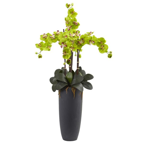 Nearly Natural Phalaenopsis Orchid Arrangement with Bullet Planter 1369-GR