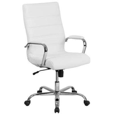 High Back White Leather Executive Swivel Office Chair with Chrome Base and Arms