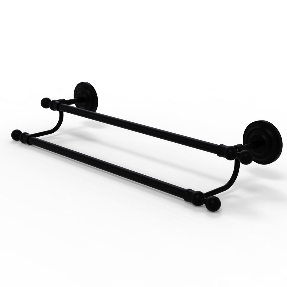 Allied Brass Que New Collection 36 in. Double Towel Bar in Matte Black