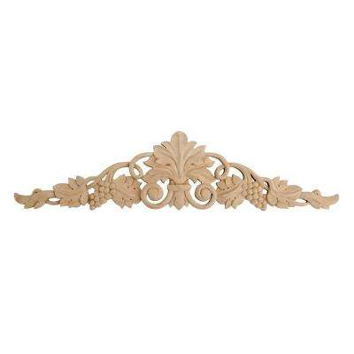 3-7/8 in. x 16-1/8 in. x 1/2 in. Unfinished Hand Carved North American Solid Alder Wood Onlay Grape Vine Wood Applique