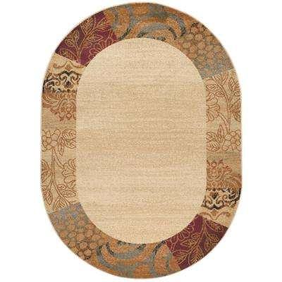 Elegance Beige 6 ft. 7 in. x 9 ft. 6 in. Oval Indoor Area Rug