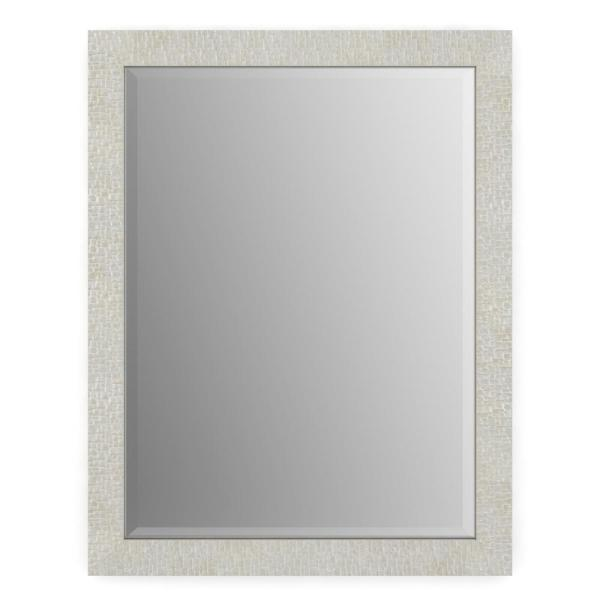 23 in. W x 33 in. H (S2) Framed Rectangular Deluxe Glass Bathroom Vanity Mirror in Stone Mosaic