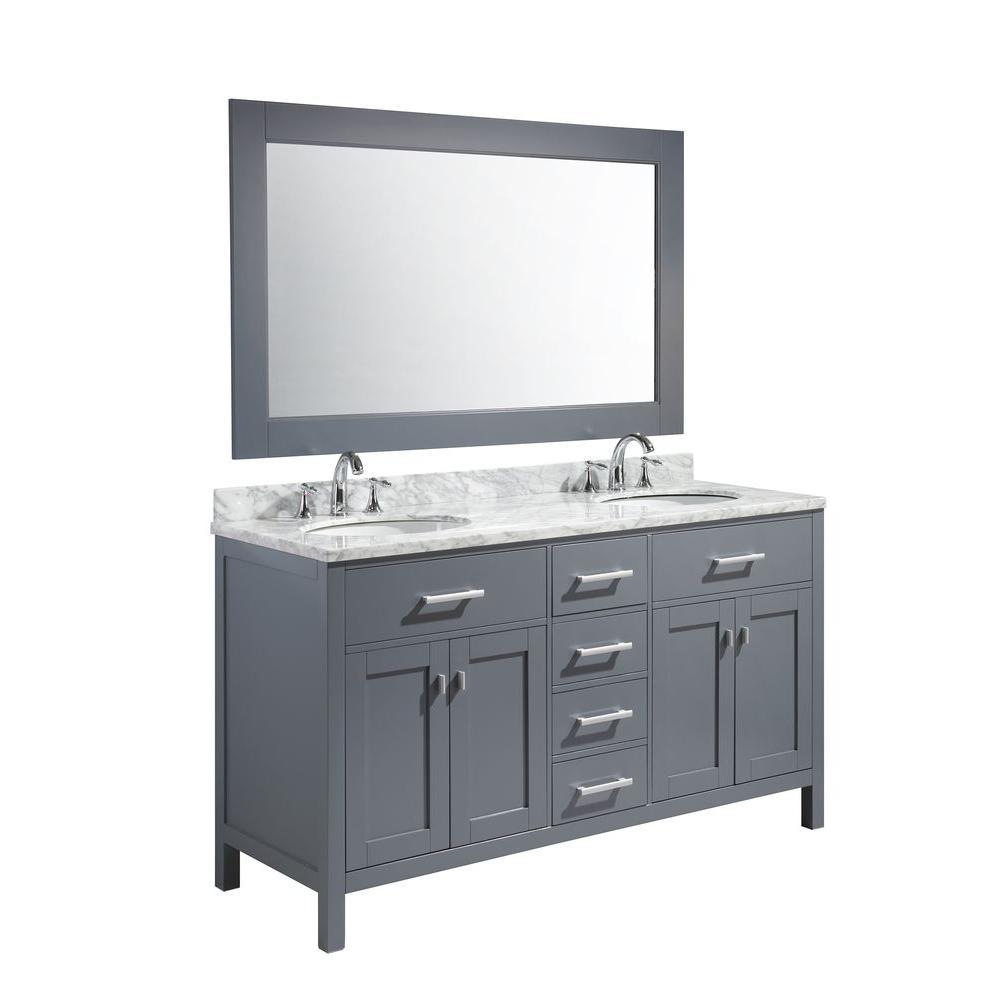 London 61 in. W x 22 in. D x 35.5 in. H Vanity in Gray with Marble Vanity Top in Carrara White, Basin and Mirror