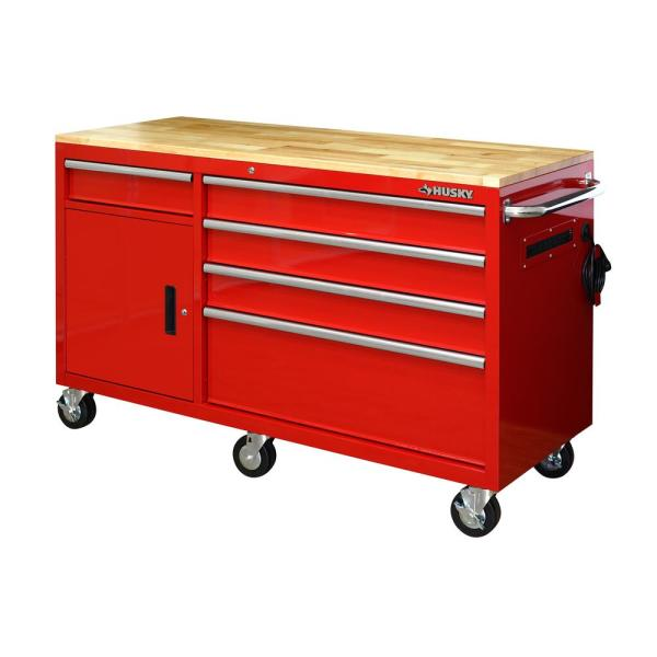 62 in. 5-Drawer 1-Door Mobile Workbench, Red