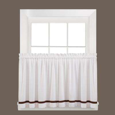 Semi-Opaque Kate 24 in. L Polyester Tier Curtain in Clove (2-Pack)