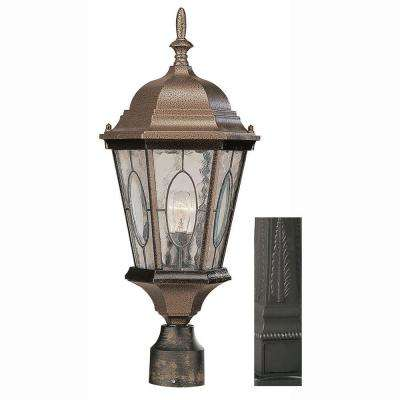 Villa Nueva 1-Light Black Post Mount Lantern with Water Glass