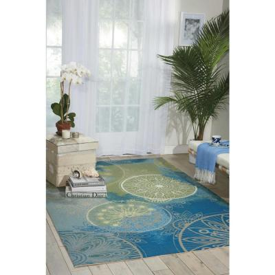 Home and Garden Blue 8 ft. x 11 ft. Medallion Contemporary Indoor/Outdoor Area Rug