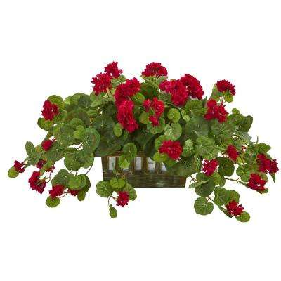 Indoor Geranium Artificial Plant in Decorative Planter