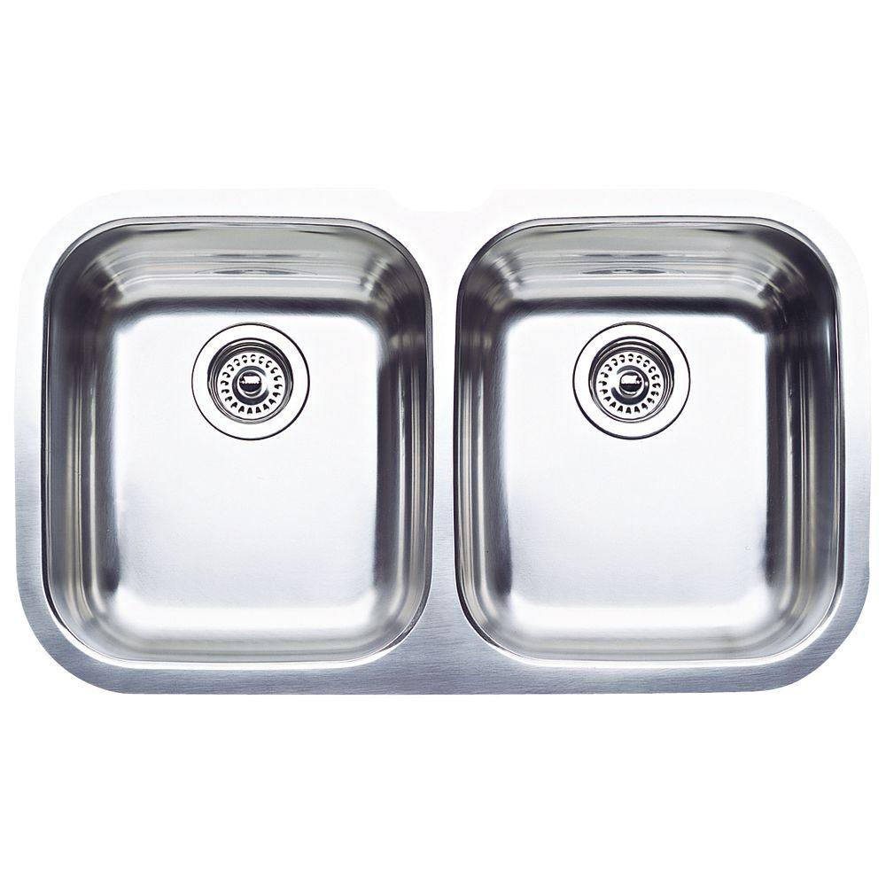blanco stainless steel kitchen sinks blanco niagara undermount stainless steel 31 in equal 7921