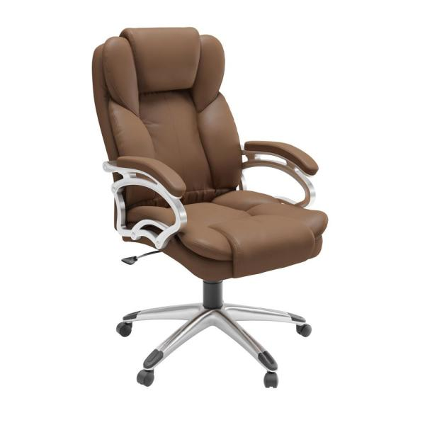 CorLiving Caramel Brown Leatherette Workspace Executive Office Chair LOF-428-O
