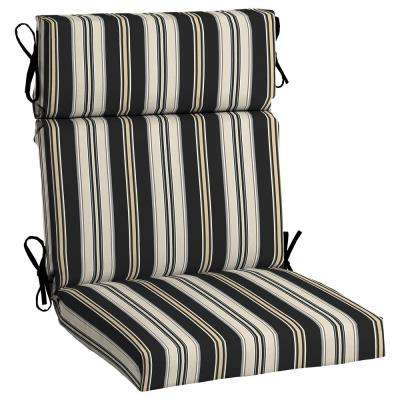 Black Stripe Outdoor Dining Chair Cushion