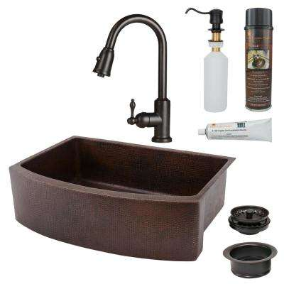 All-in-One Copper 30 in. Single Bowl Rounded Kitchen Farmhouse Apron Front Sink with Faucet in ORB