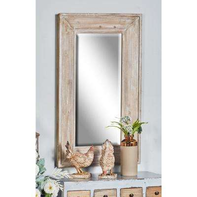 45 in. Rectangular Distressed White Door/Wall Mirror