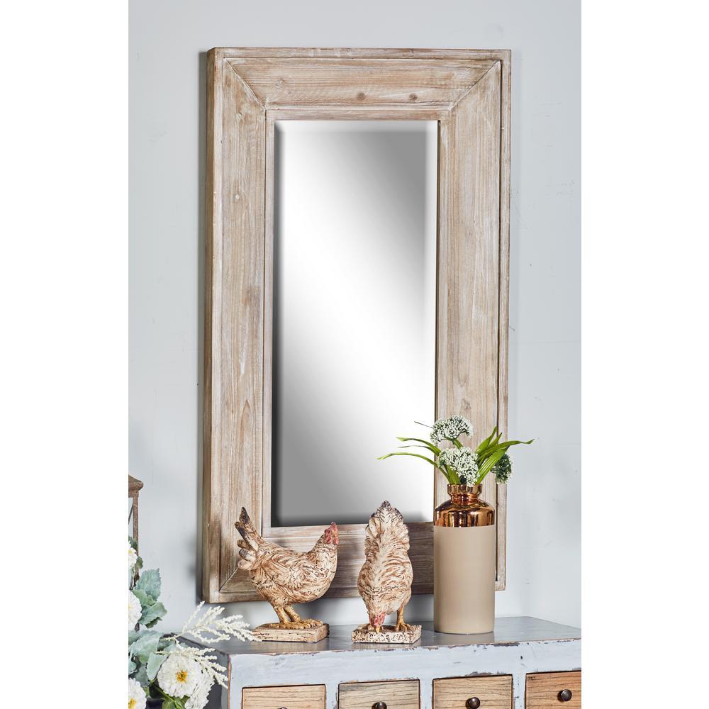 45 in. Rectangular Distressed White Door/Wall Mirror