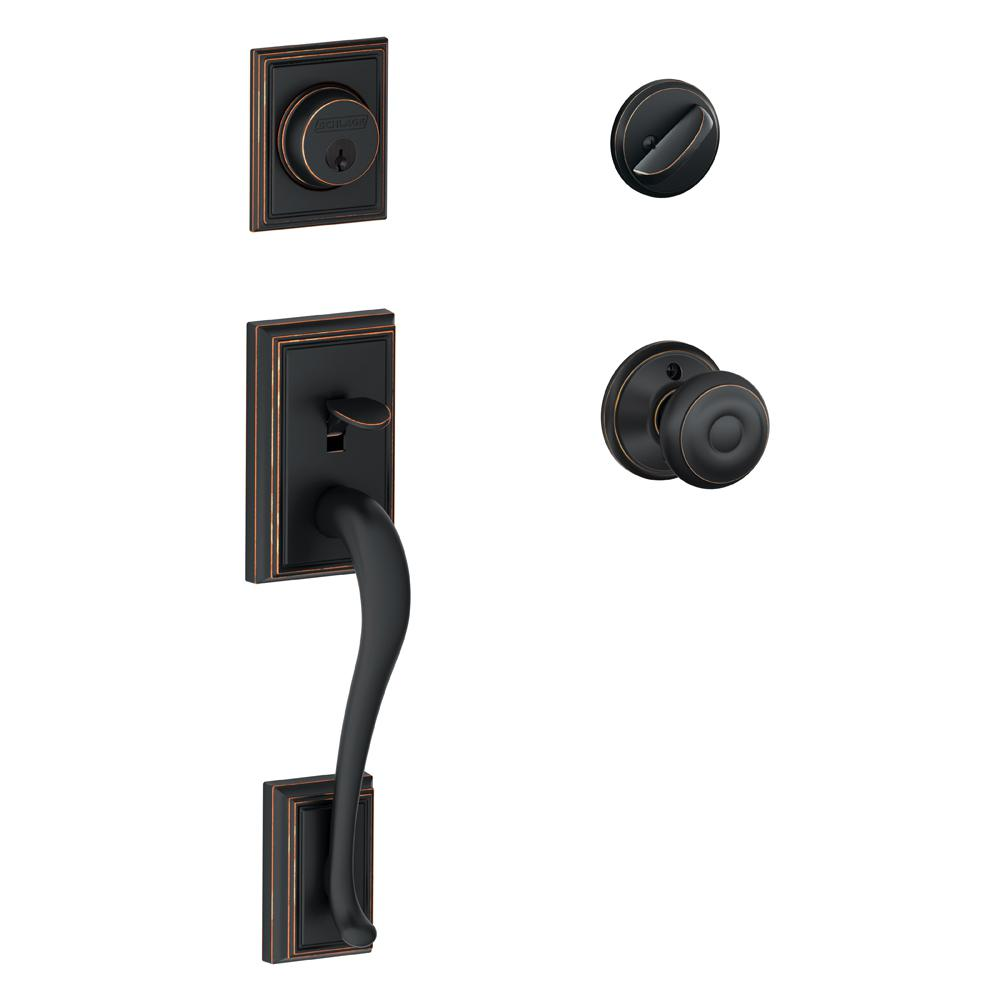 Schlage Addison Aged Bronze Single Cylinder Deadbolt with Georgian Knob Door Handleset