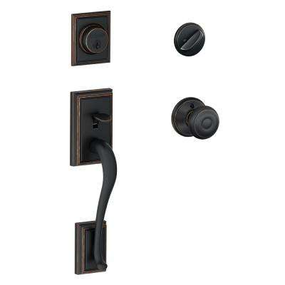 Addison Aged Bronze Single Cylinder Deadbolt with Georgian Knob Door Handleset