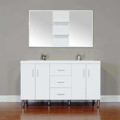 The Modern 56.5 in. W x 19.875 in. D Bath Vanity in White with Acrylic Vanity Top in White with White Basin