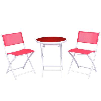 3-Piece Metal Folding Round Outdoor Bistro Set Patio Table Chairs Furniture