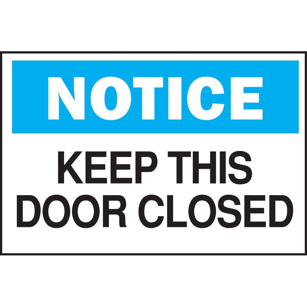 graphic regarding Keep Door Closed Sign Printable named Brady 10 in just. x 14 in just. Plastic Consideration Maintain This Doorway Shut OSHA Security Indicator