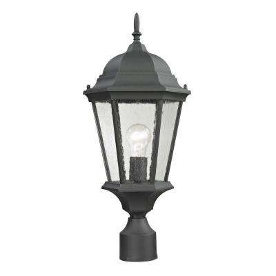 Temple Hill 1-Light Outdoor Matte Textured Black Post Lantern
