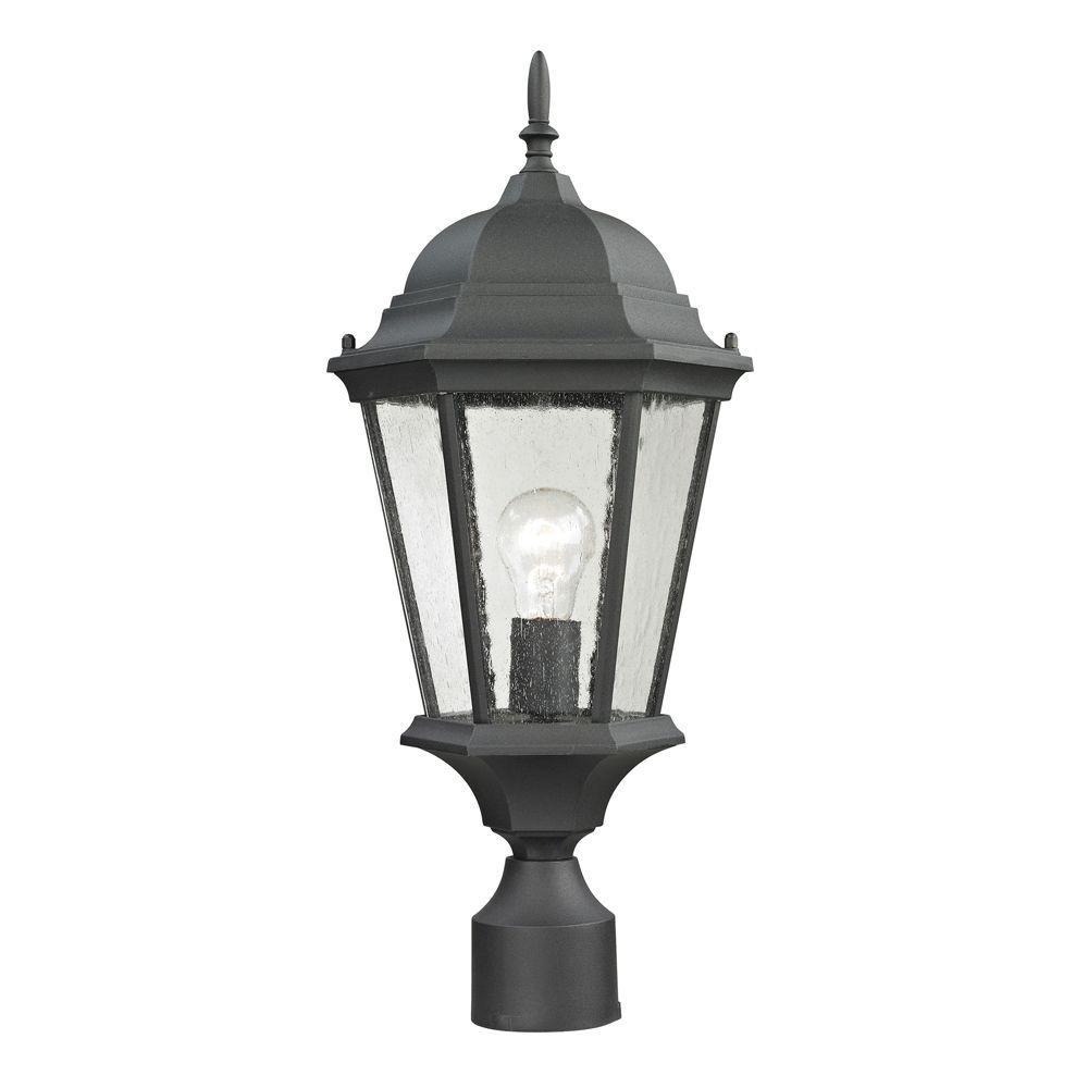 Temple Hill 1-Light Outdoor Matte Textured Black Post Lantern