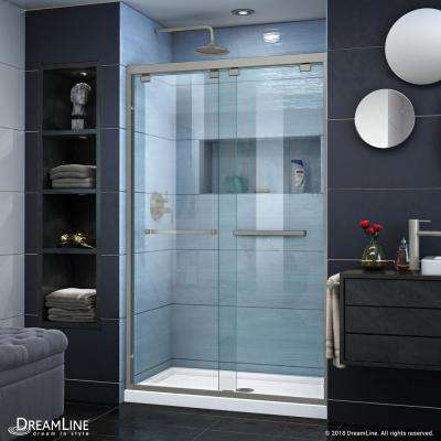 Encore 32 in. D x 48 in. W x 78.75 in. H Semi-Frameless Sliding Shower Door in Brushed Nickel with White Base