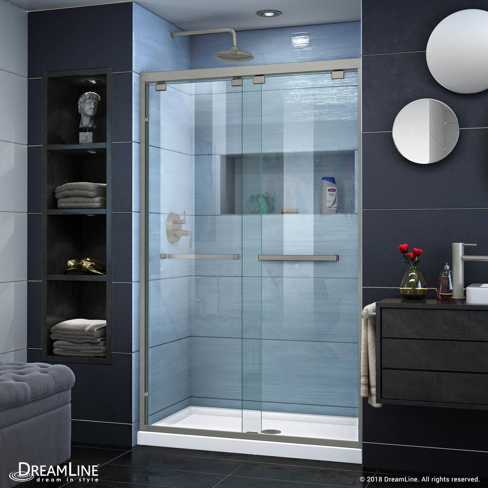 Encore 44 to 48 in. x 76 in. Semi-Frameless Bypass Shower Door in Brushed Nickel