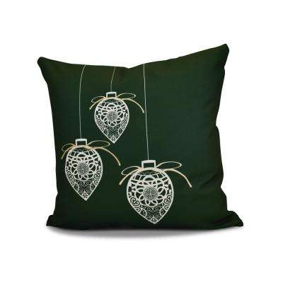 16 in. Filagree Ornaments Holiday Green Pillow