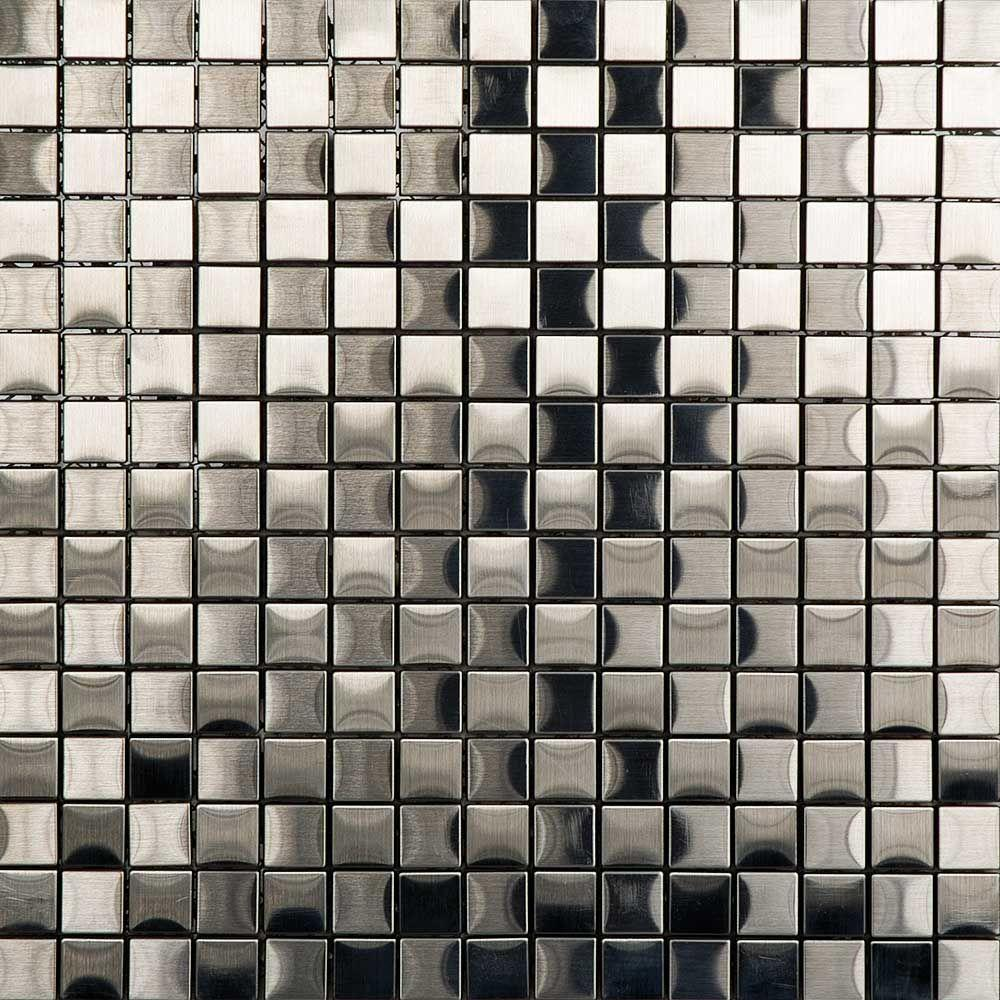 PORCELANOSA Metal Acero Mosaic Tile 12 in. x 12 in. x 7.94 mm Metal Mosaic Tile