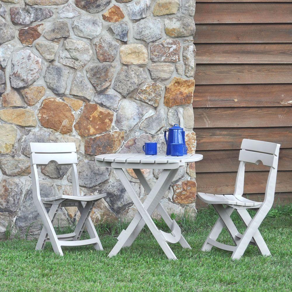Adams Manufacturing Quik-Fold Desert Clay 3-Piece Patio Cafe Set