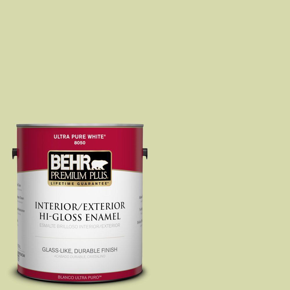 BEHR Premium Plus 1-gal. #410C-3 Celery Sprig Hi-Gloss Enamel Interior/Exterior Paint