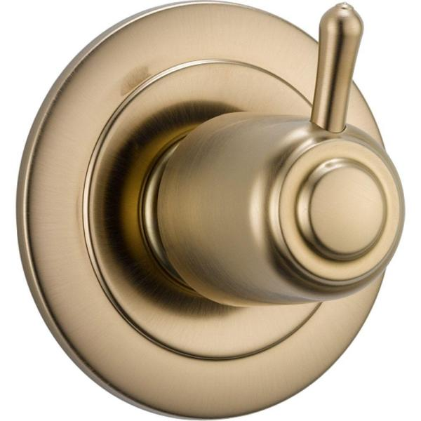 Single-Handle 3-Setting Diverter Valve Trim Kit in Champagne Bronze (Valve Not Included)