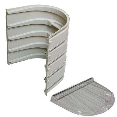 5600 4-Sections 092 Gray Egress Well with Flat Polycarbonate Cover Bundle