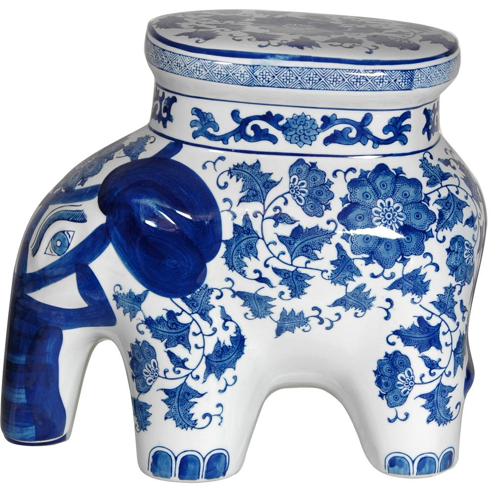 Floral Blue And White Porcelain Elephant Stool