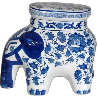 Oriental Furniture 14 in. Floral Blue and White Porcelain Elephant Stool