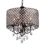 Marya 4-Light Antique Copper Round Chandelier with Beaded Drum/Hanging Clear Crystal Glass Teardrops