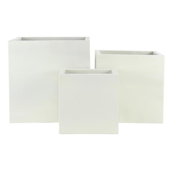 Modern 16 in. 20 in. and 24 in. White Metal Planters (Set of 3)