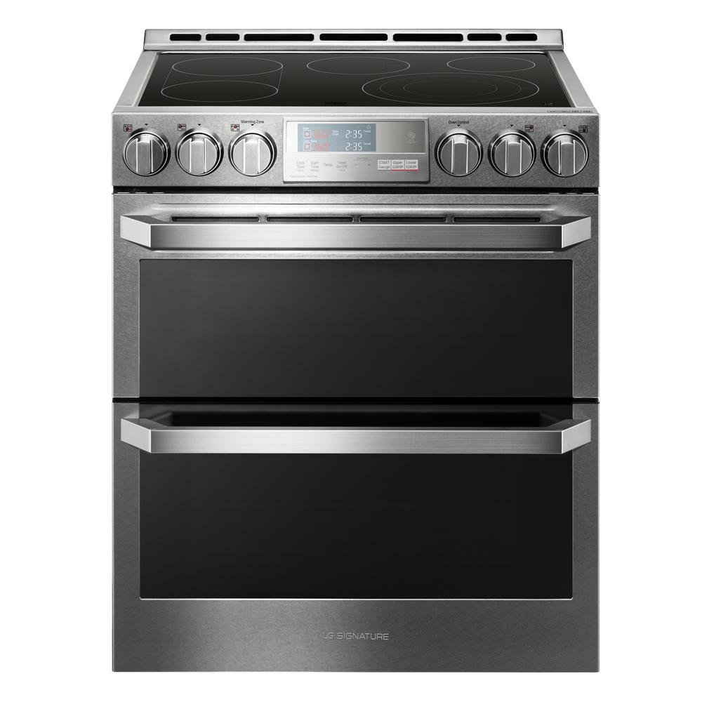 LG SIGNATURE 7.3 cu. ft. Double Oven Smart Slide-in Electric Range with WiFi Enabled in Textured Steel