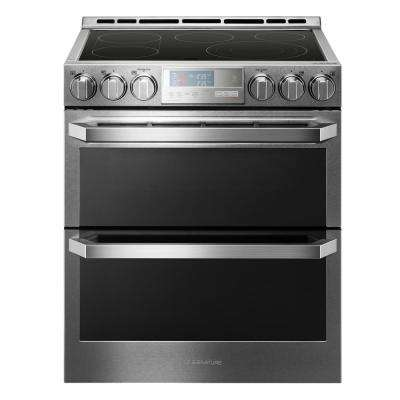 7.3 cu. ft. Double Oven Smart Slide-in Electric Range with WiFi Enabled in Textured Steel