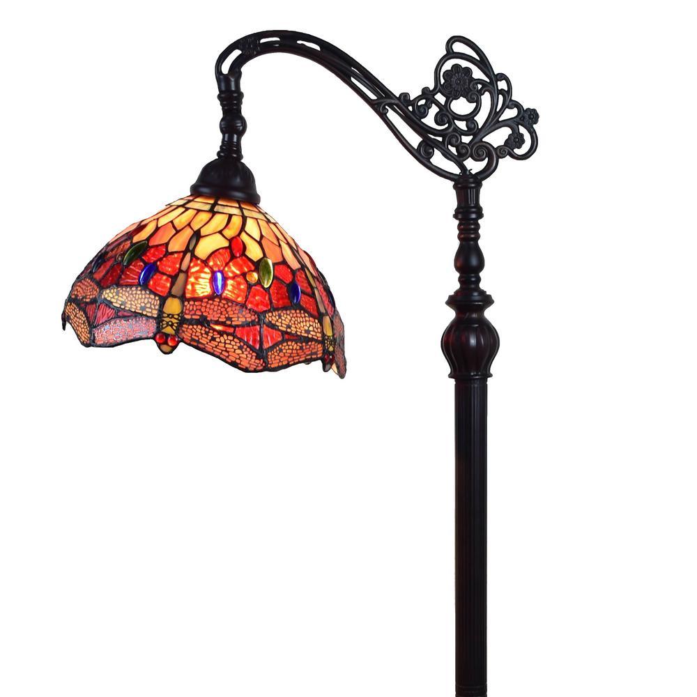 Amora Lighting 62 in. Tiffany Style Dragonfly Reading Floor Lamp